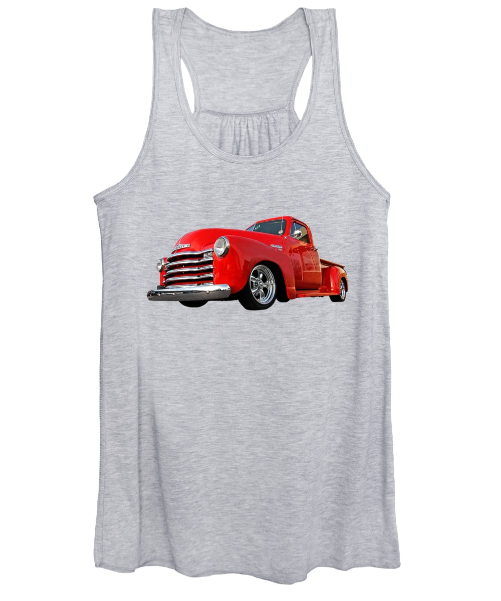 Chevrolet Truck Women's Tank Top featuring the photograph 1952 Chevrolet Truck At The Diner by Gill Billington