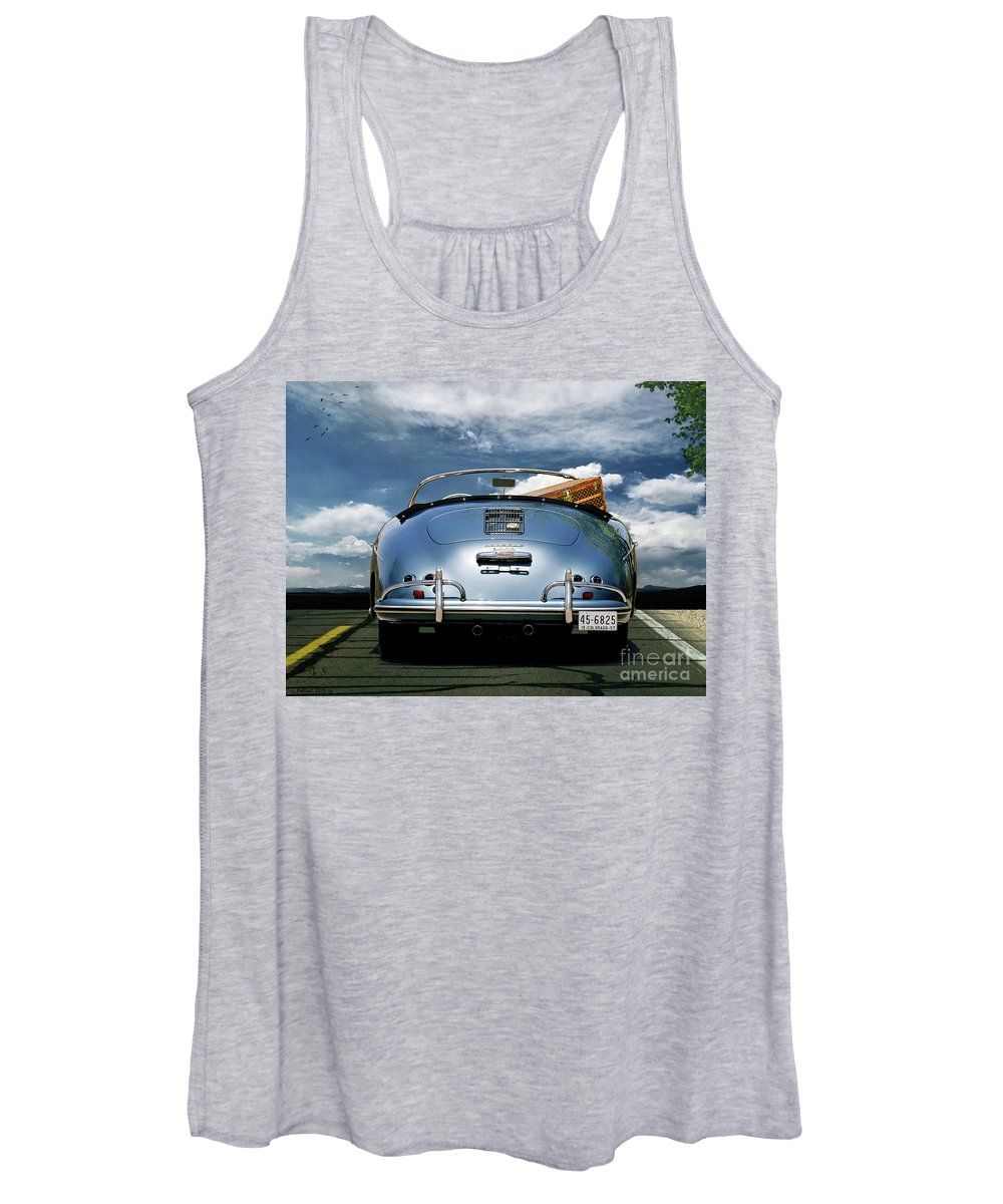 Porsche Women's Tank Top featuring the mixed media 1955 Porsche, 356a, 1600 Speedster, Aquamarin Blue Metallic, Louis Vuitton Classic Steamer Trunk by Thomas Pollart
