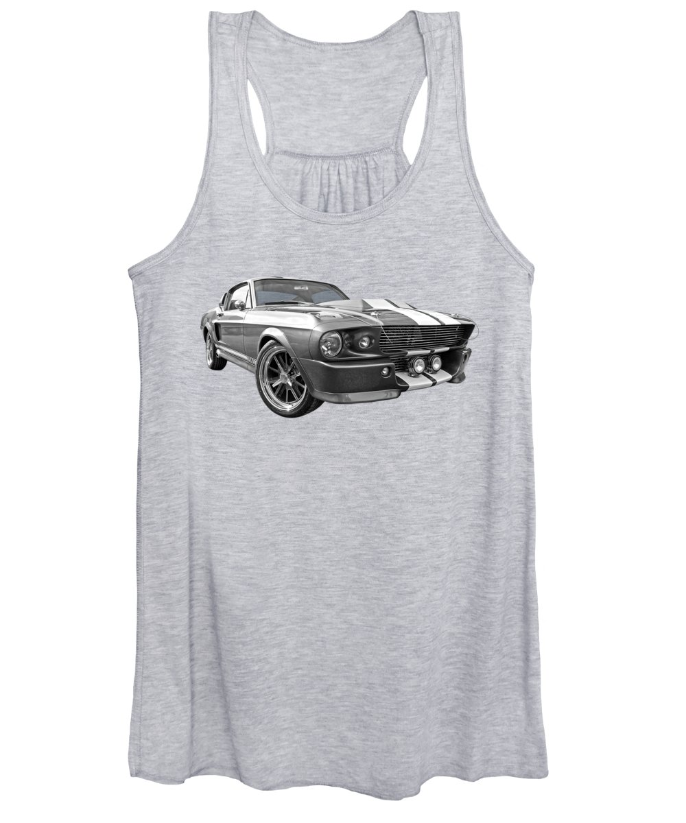 Ford Mustang Women's Tank Top featuring the photograph 1967 Eleanor Mustang In Black And White by Gill Billington