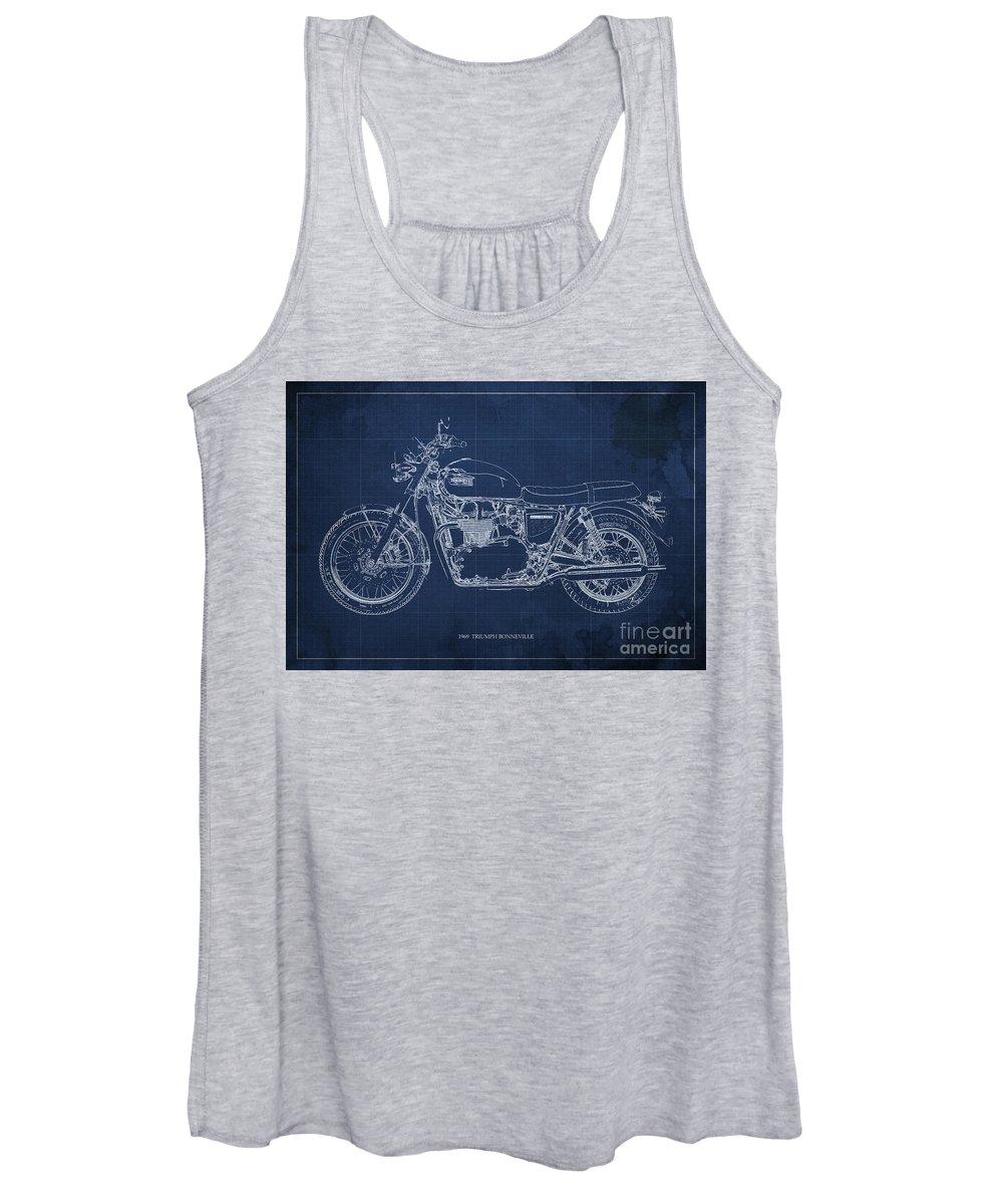 Moto Blueprint Drawings Women's Tank Tops