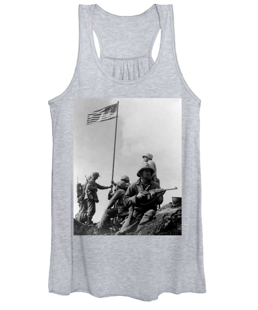 Iwo Jima Women's Tank Top featuring the photograph 1st Flag Raising On Iwo Jima by War Is Hell Store