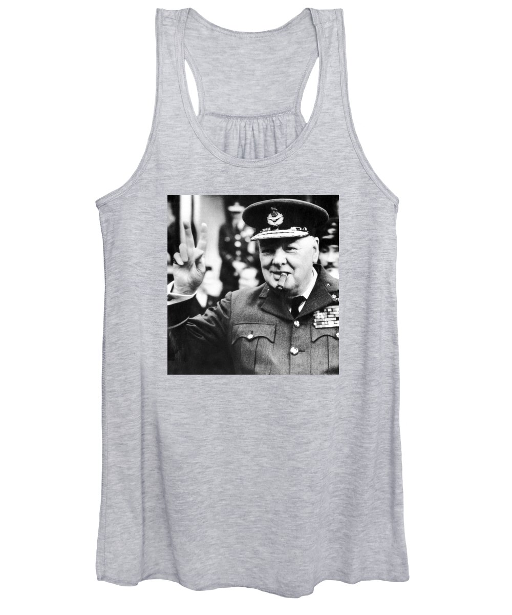 Churchill Women's Tank Top featuring the photograph Winston Churchill by English School