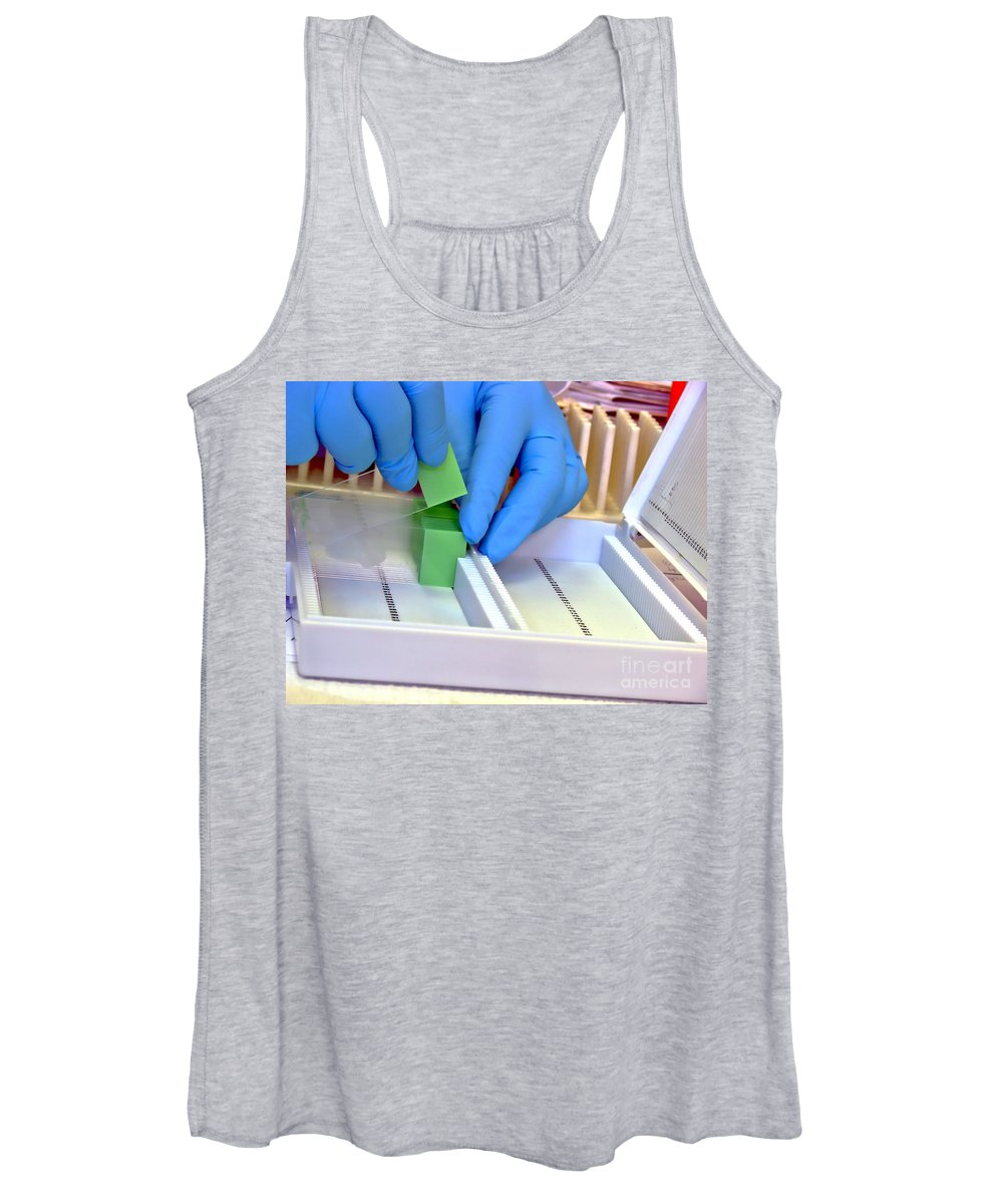 Slide Women's Tank Top featuring the photograph Laboratory Equipment In Science Research Lab by Olivier Le Queinec