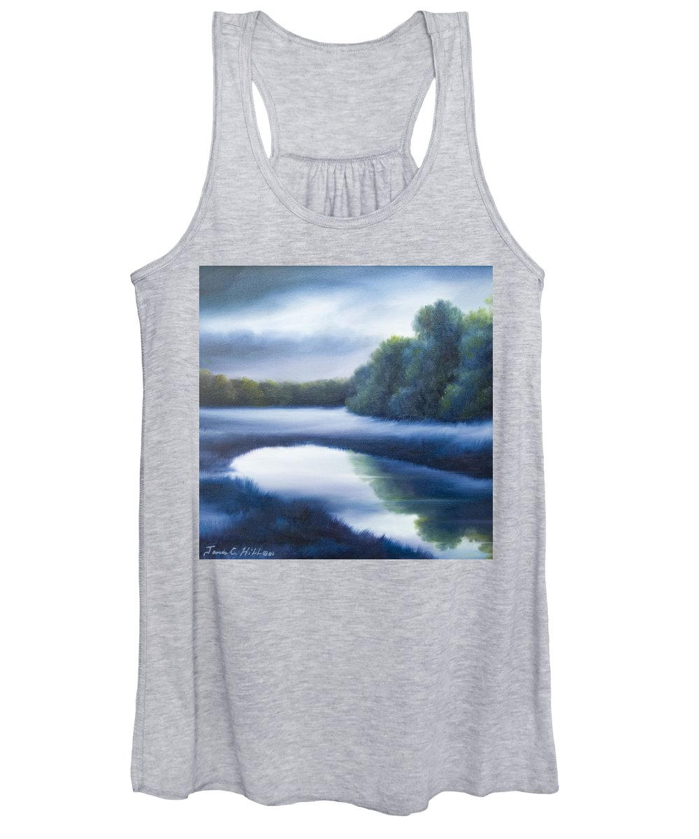 Nature; Lake; Sunset; Sunrise; Serene; Forest; Trees; Water; Ripples; Clearing; Lagoon; James Christopher Hill; Jameshillgallery.com; Foliage; Sky; Realism; Oils; Green; Tree; Blue; Pink; Pond; Lake Women's Tank Top featuring the painting A Day In The Life 4 by James Christopher Hill