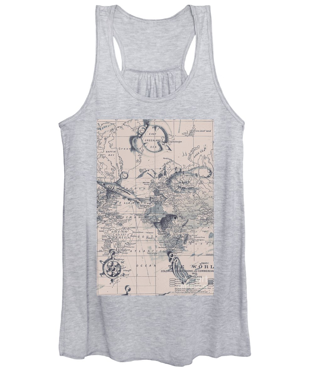 Map Women's Tank Top featuring the photograph A Fishermans Map by Jorgo Photography - Wall Art Gallery