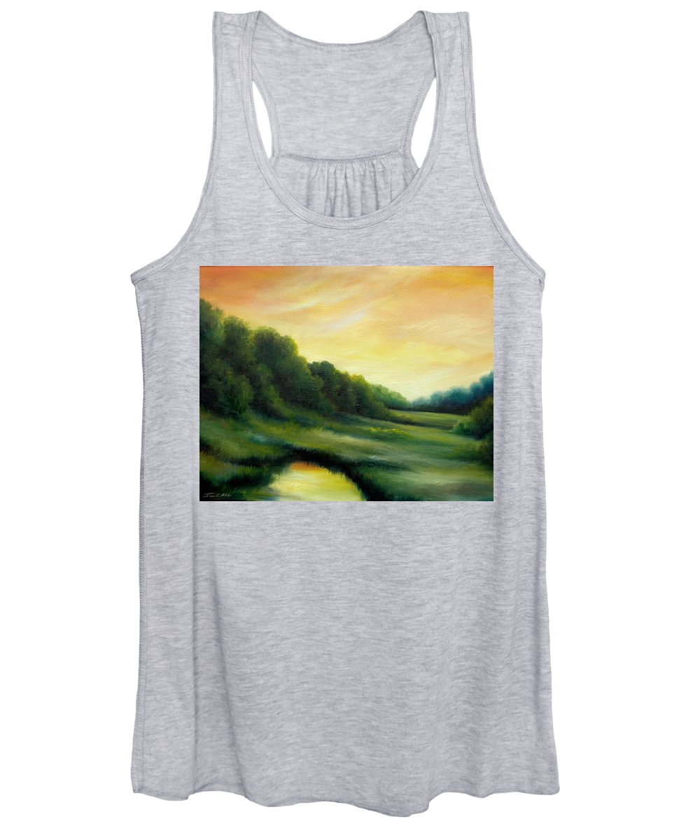 Clouds Women's Tank Top featuring the painting A Spring Evening Part Two by James Christopher Hill