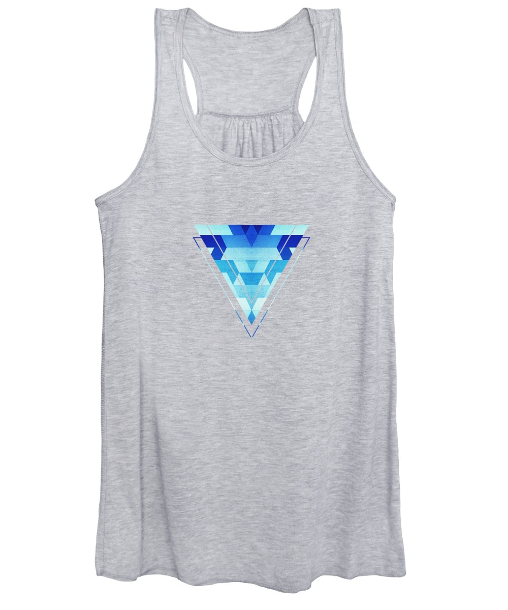 Blue Women's Tank Top featuring the digital art Abstract geometric triangle pattern futuristic future symmetry in ice blue by Philipp Rietz
