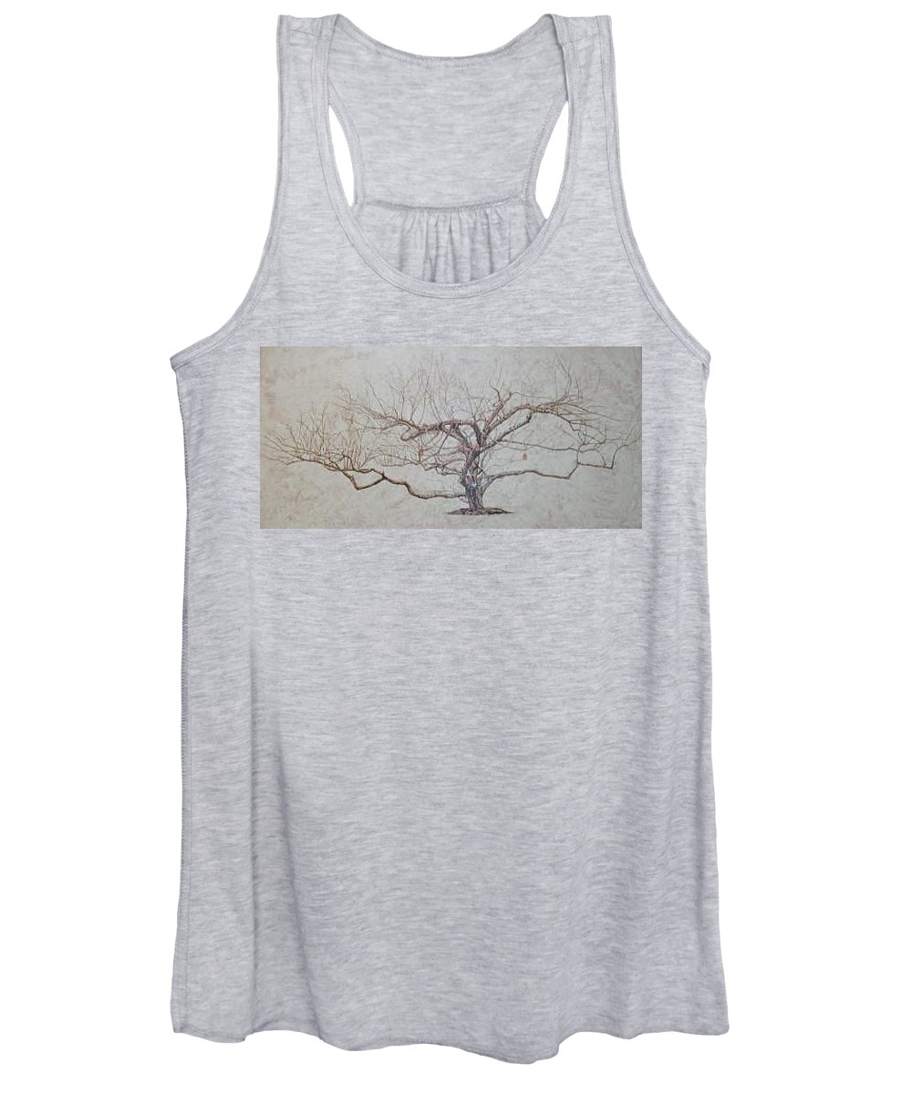 Apple Tree Women's Tank Top featuring the painting Apple Tree In Winter by Leah Tomaino