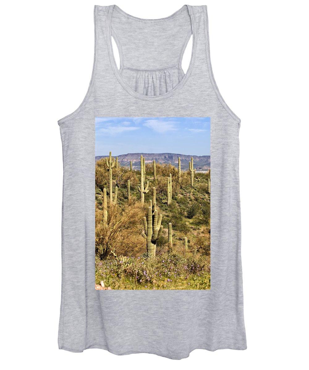 Saguaro Women's Tank Top featuring the photograph Arizona Desert by Renee Cline