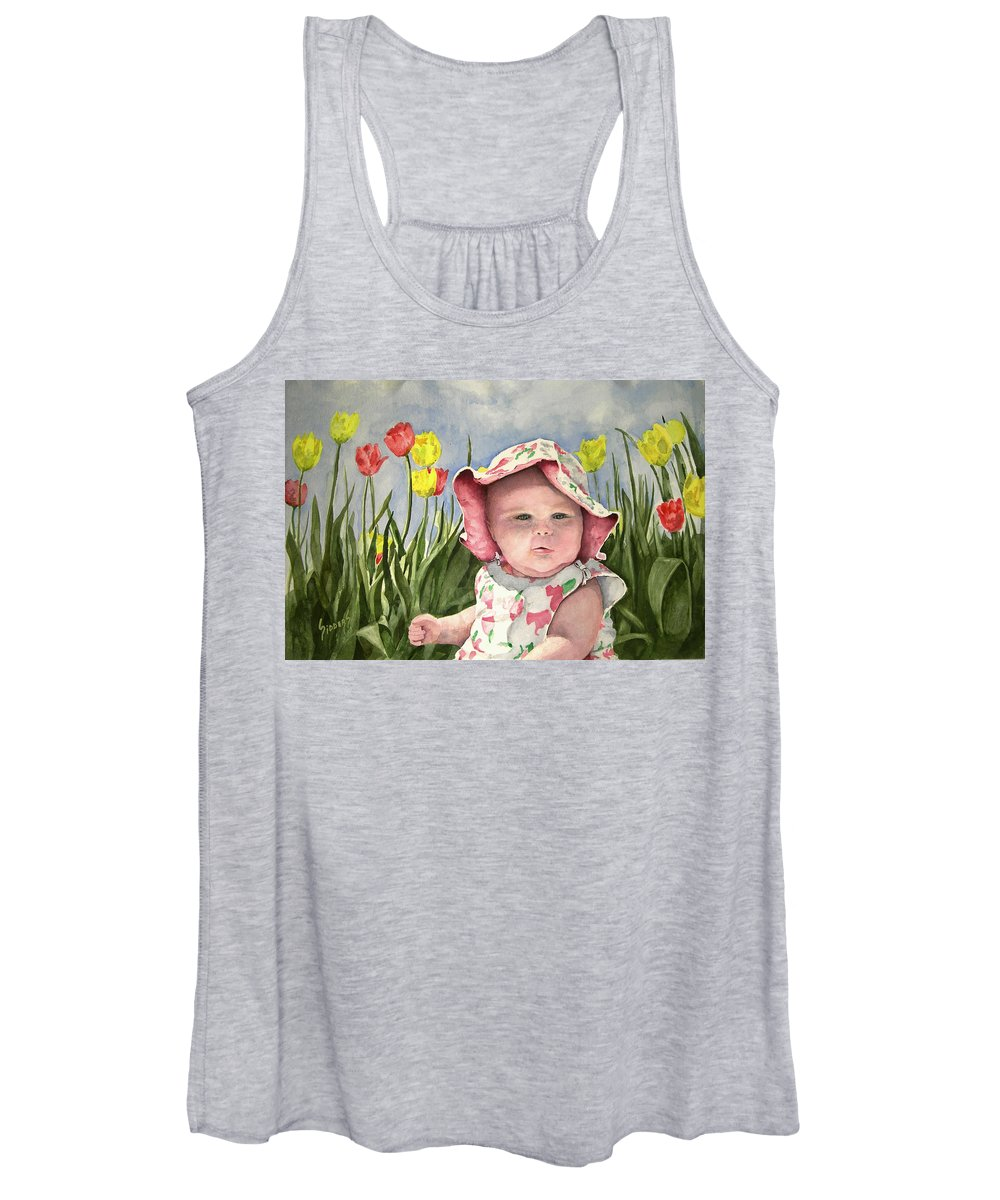 Kids Women's Tank Top featuring the painting Audrey by Sam Sidders