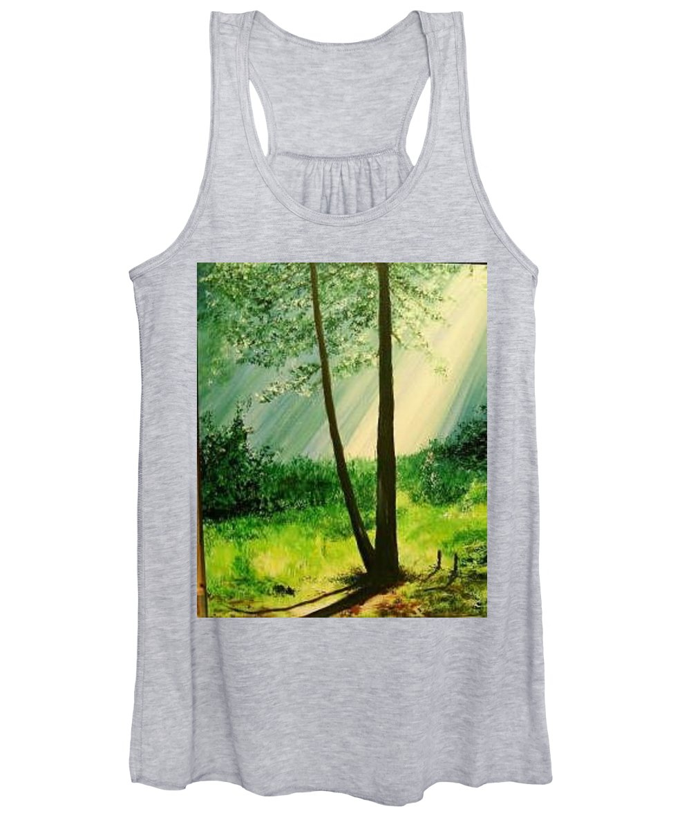 Light Women's Tank Top featuring the painting Bathed In Light by Lizzy Forrester
