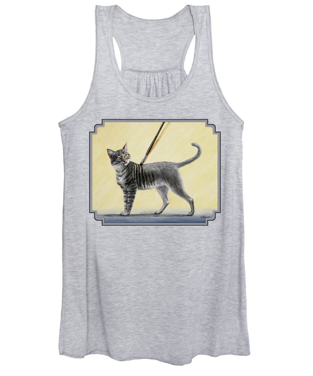 Cat Women's Tank Top featuring the painting Brushing The Cat - No. 2 by Crista Forest