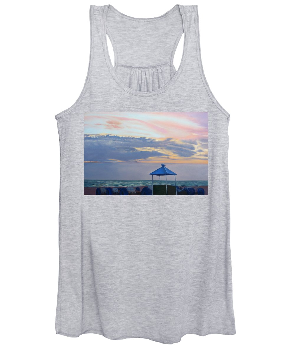 Sunset Women's Tank Top featuring the painting Day Is Done by Lea Novak