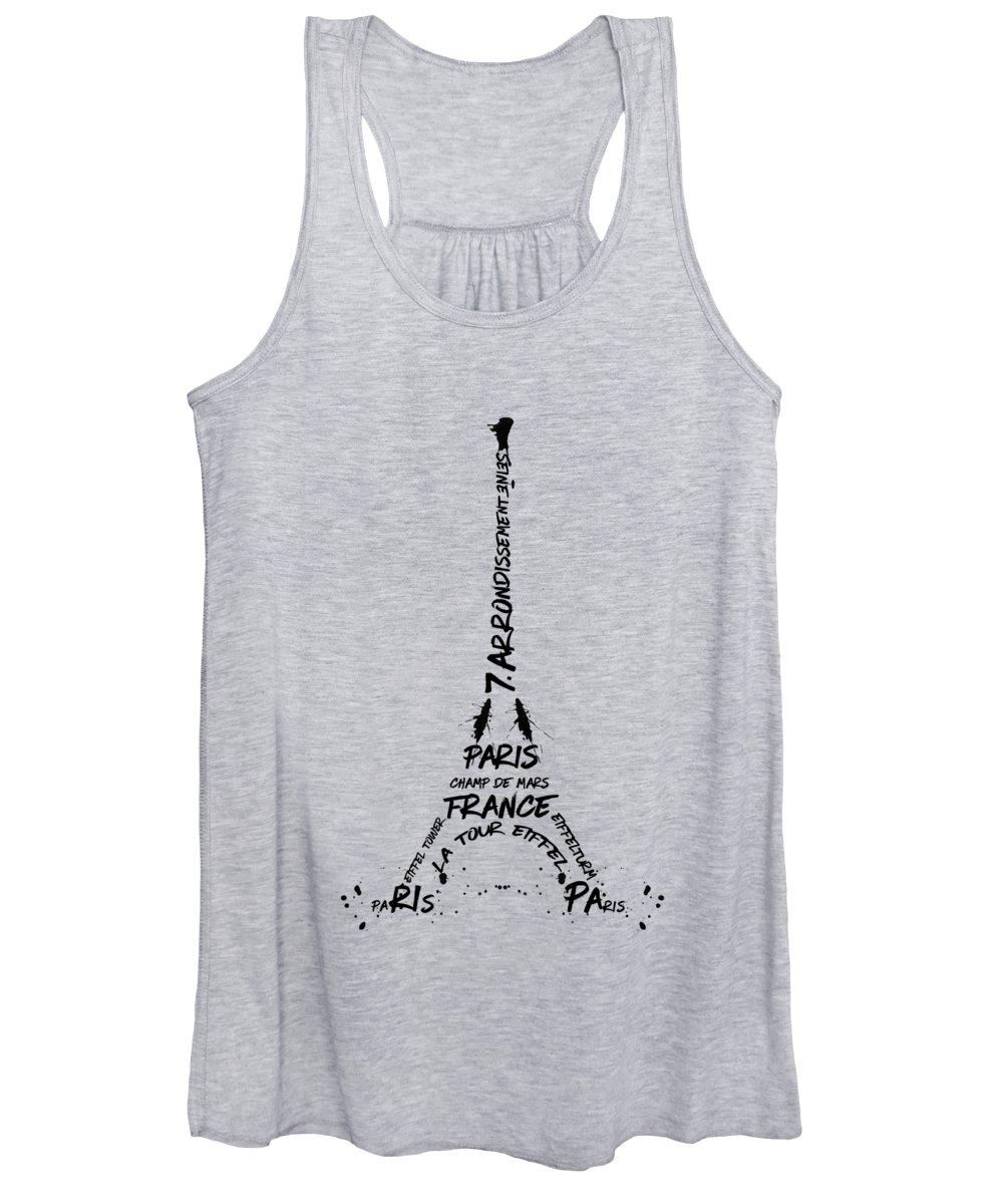 Paris Women's Tank Top featuring the digital art Digital-art Eiffel Tower by Melanie Viola