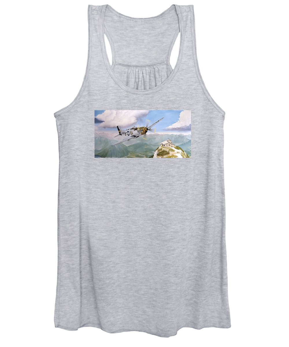 Military Women's Tank Top featuring the painting Double Trouble Over The Eagle by Marc Stewart