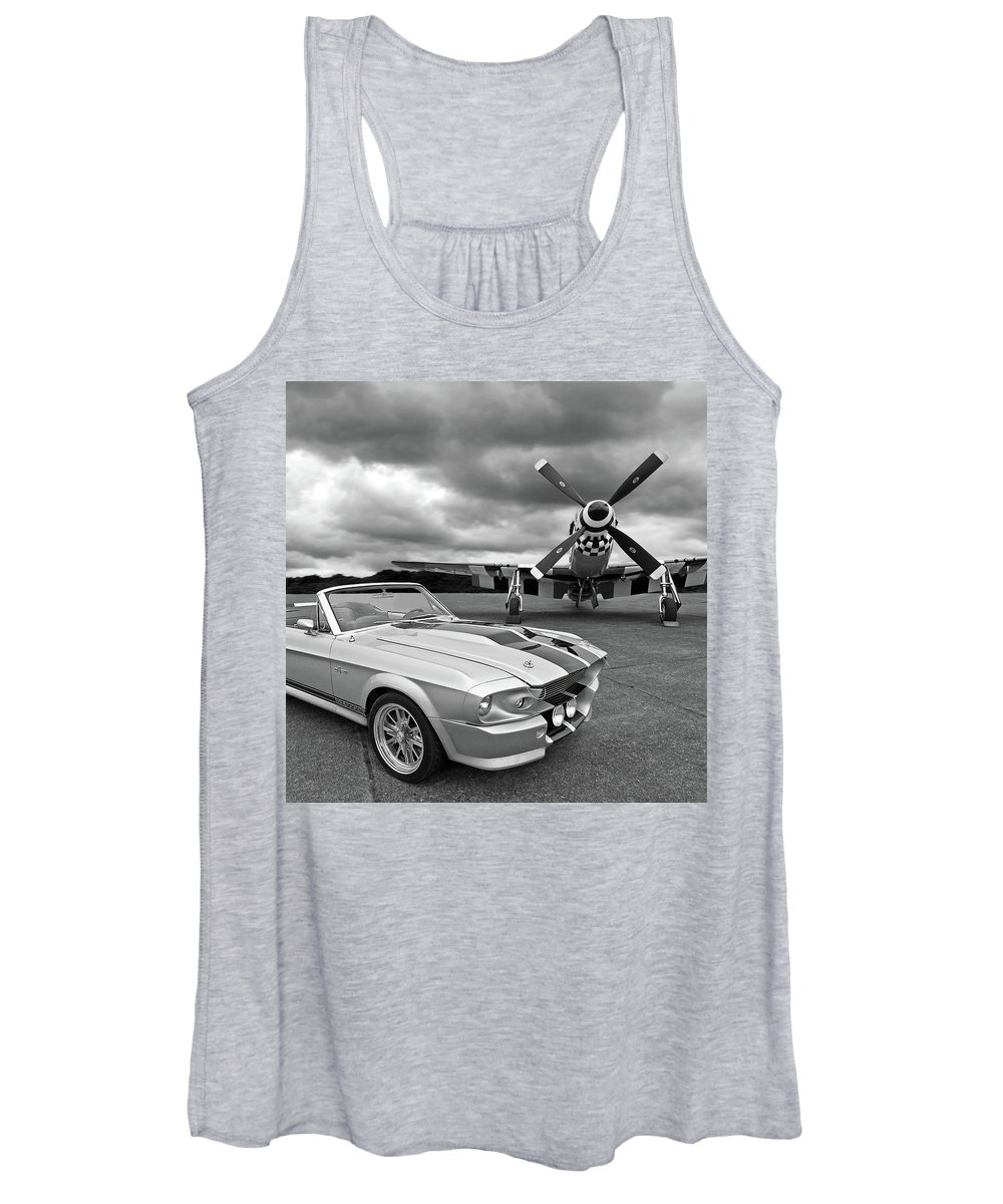 Old Ford Mustang Women's Tank Top featuring the photograph Eleanor Mustang With P51 Black And White by Gill Billington