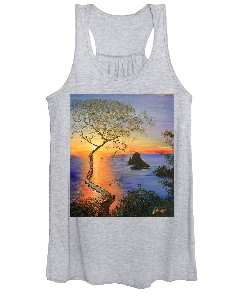 Sunset Women's Tank Top featuring the painting Es Vedra Island Off Ibiza South Coast by Lizzy Forrester