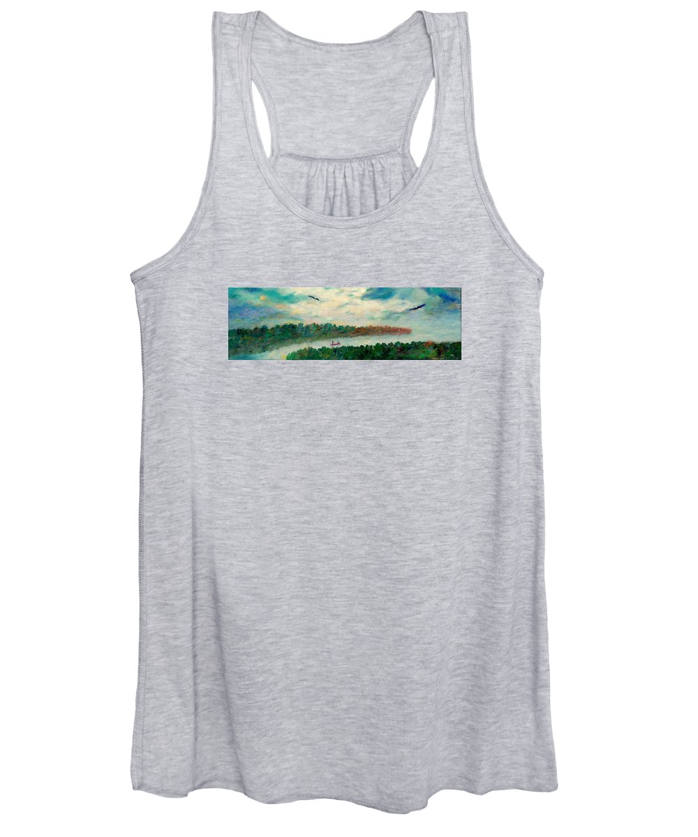 Canoeing On The Big Canadian Lakes Women's Tank Top featuring the painting Exploring Our Lake by Naomi Gerrard