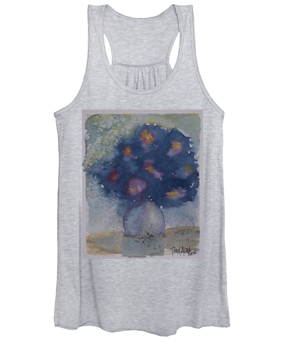 Watercolor Women's Tank Top featuring the painting FLOWERS AT NIGHT original abstract gothic surreal art by Derek Mccrea