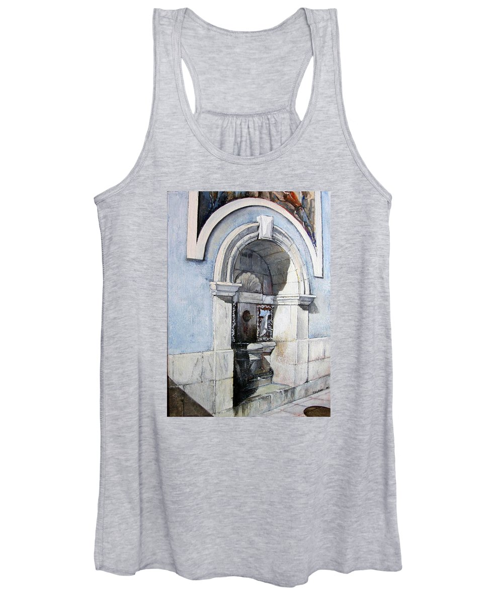 Fuente Women's Tank Top featuring the painting Fuente Castro Urdiales by Tomas Castano