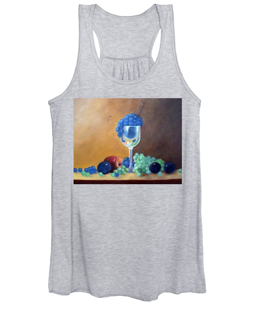 Wine Galsses With Grapes Women's Tank Top featuring the painting Grapes And Plums by Susan Dehlinger