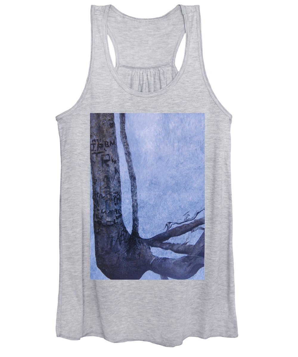 Tree Trunk Women's Tank Top featuring the painting Hedden Park II by Leah Tomaino