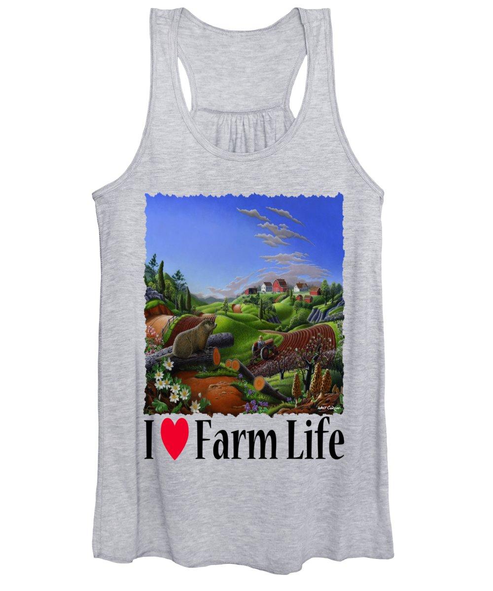 I Love Farm Life Women's Tank Top featuring the photograph I Love Farm Life - Groundhog - Spring In Appalachia - Rural Farm Landscape by Walt Curlee