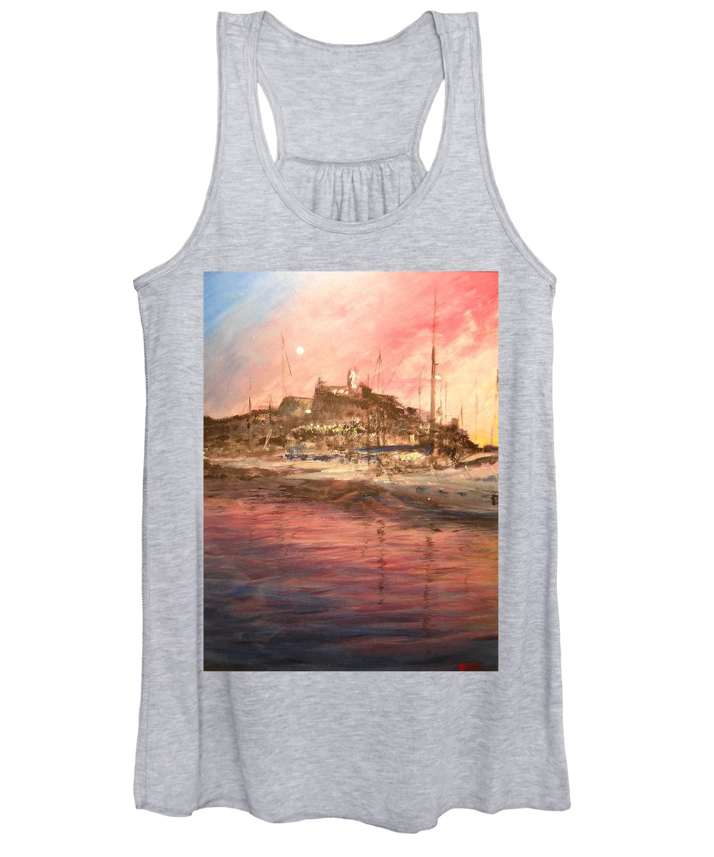 Yachts Women's Tank Top featuring the painting Ibiza Old Town At Sunset by Lizzy Forrester