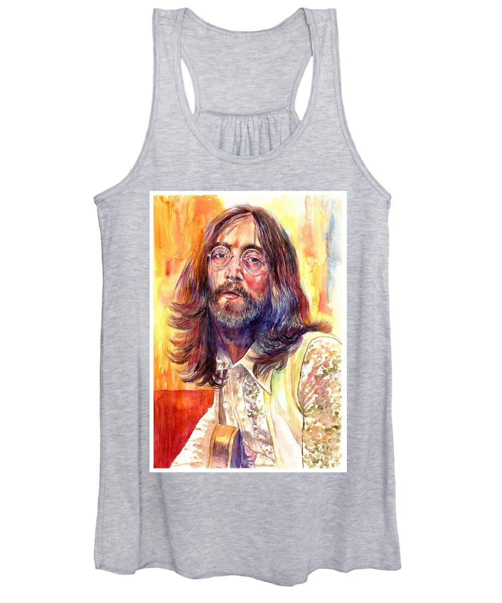 John Lennon Women's Tank Top featuring the painting John Lennon watercolor by Suzann Sines