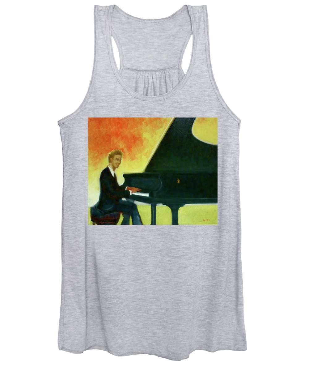 Jred Women's Tank Top featuring the painting Justin Levitt Red Black Yellow by Suzanne Cerny