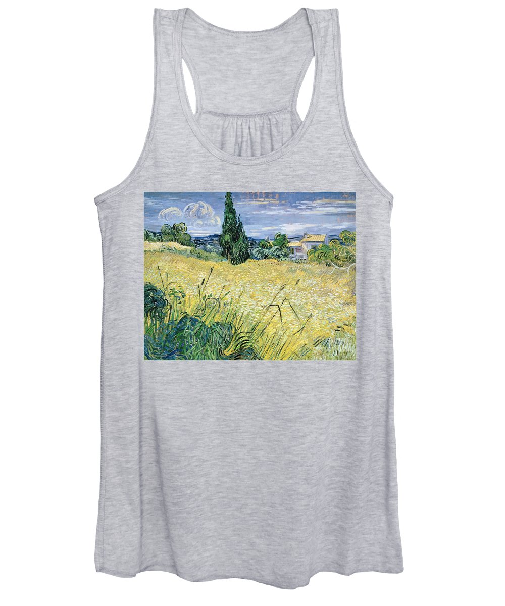 Landscape Women's Tank Top featuring the painting Landscape With Green Corn by Vincent Van Gogh