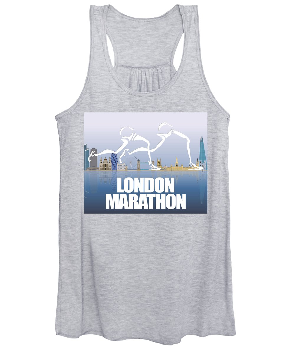 Runner Women's Tank Top featuring the mixed media London Marathon 1 by Joe Hamilton