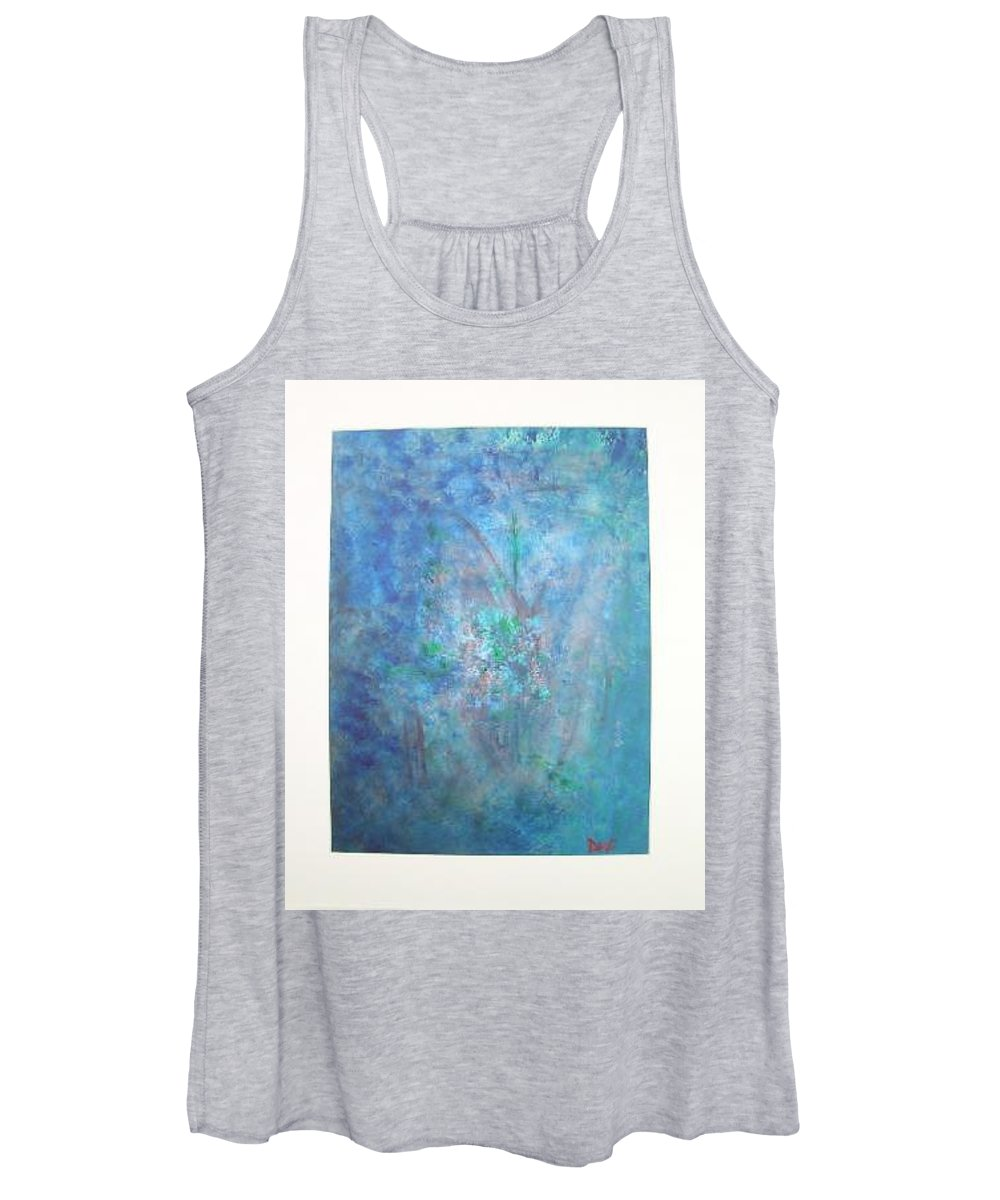 Metal Women's Tank Top featuring the painting Metal And Water Abstract. by Lizzy Forrester