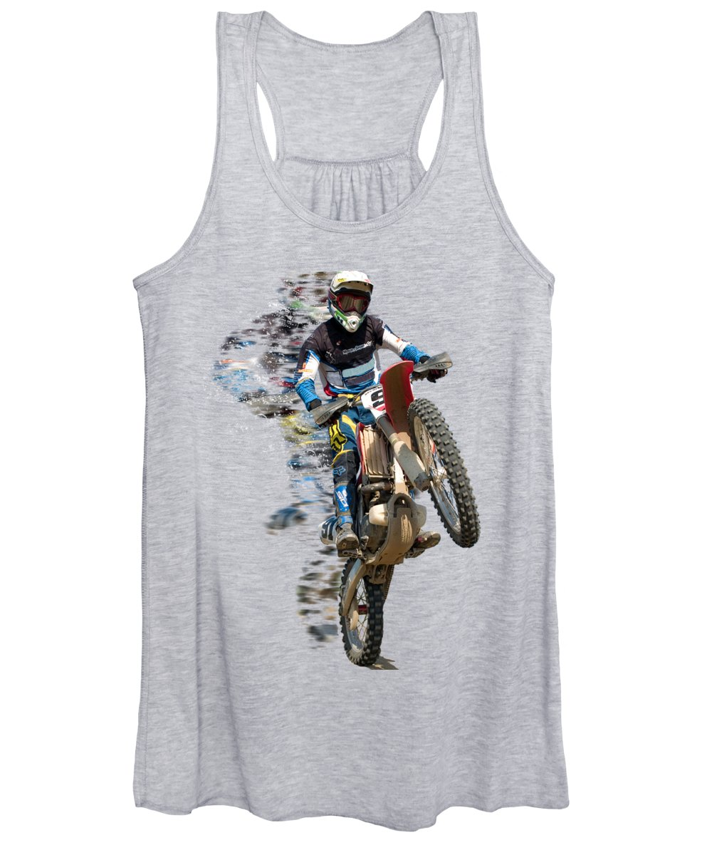 Motocross Women's Tank Top featuring the painting Motocross Rider With Flying Pieces by Elaine Plesser