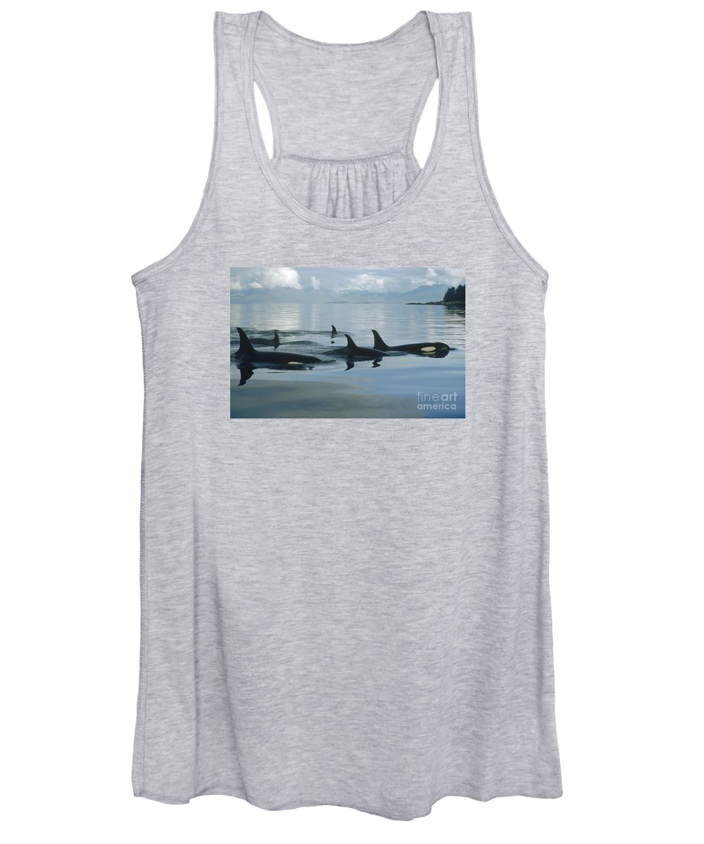 00079478 Women's Tank Top featuring the photograph Orca Pod Johnstone Strait Canada by Flip Nicklin