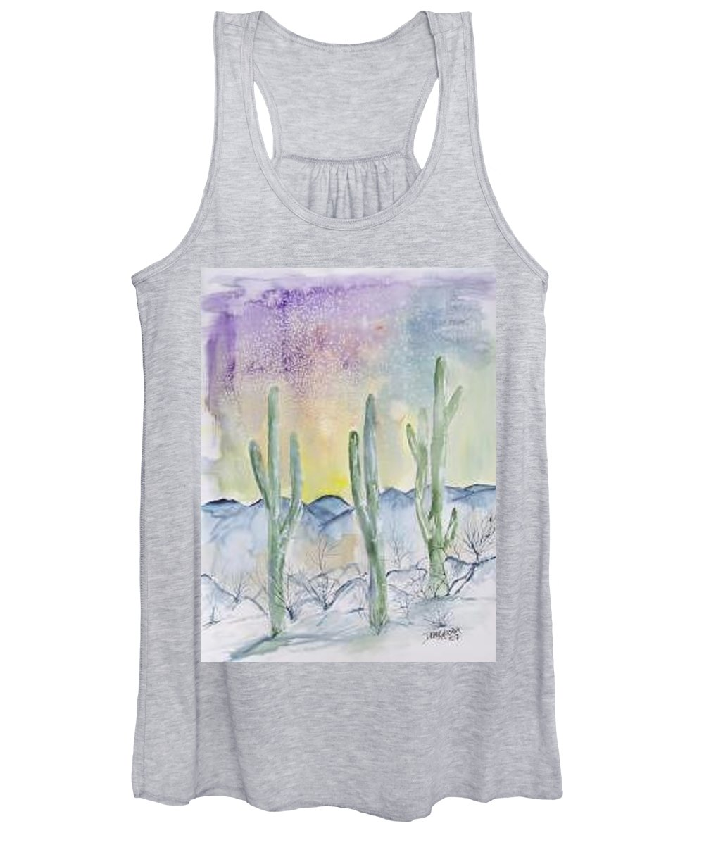 Impressionistic Women's Tank Top featuring the painting Organ Pipe Cactus desert southwestern painting poster print by Derek Mccrea
