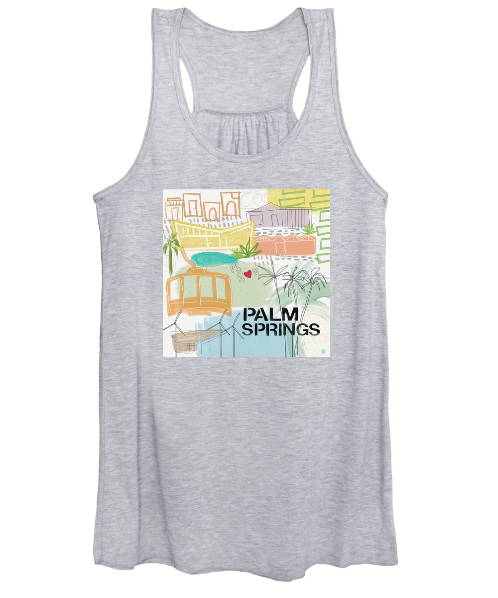 Palm Springs California Women's Tank Top featuring the painting Palm Springs Cityscape- Art by Linda Woods by Linda Woods