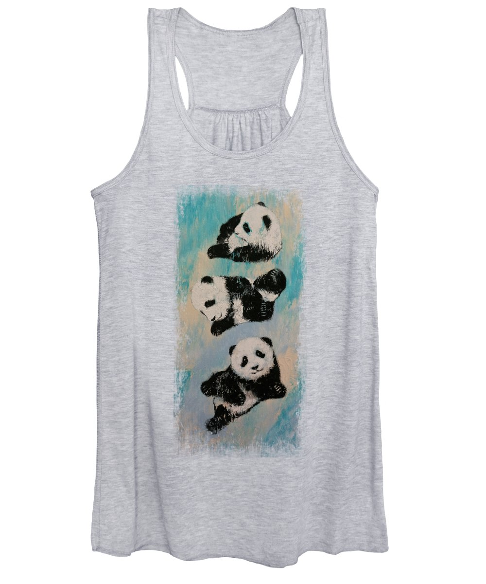 Children Women's Tank Top featuring the painting Panda Karate by Michael Creese