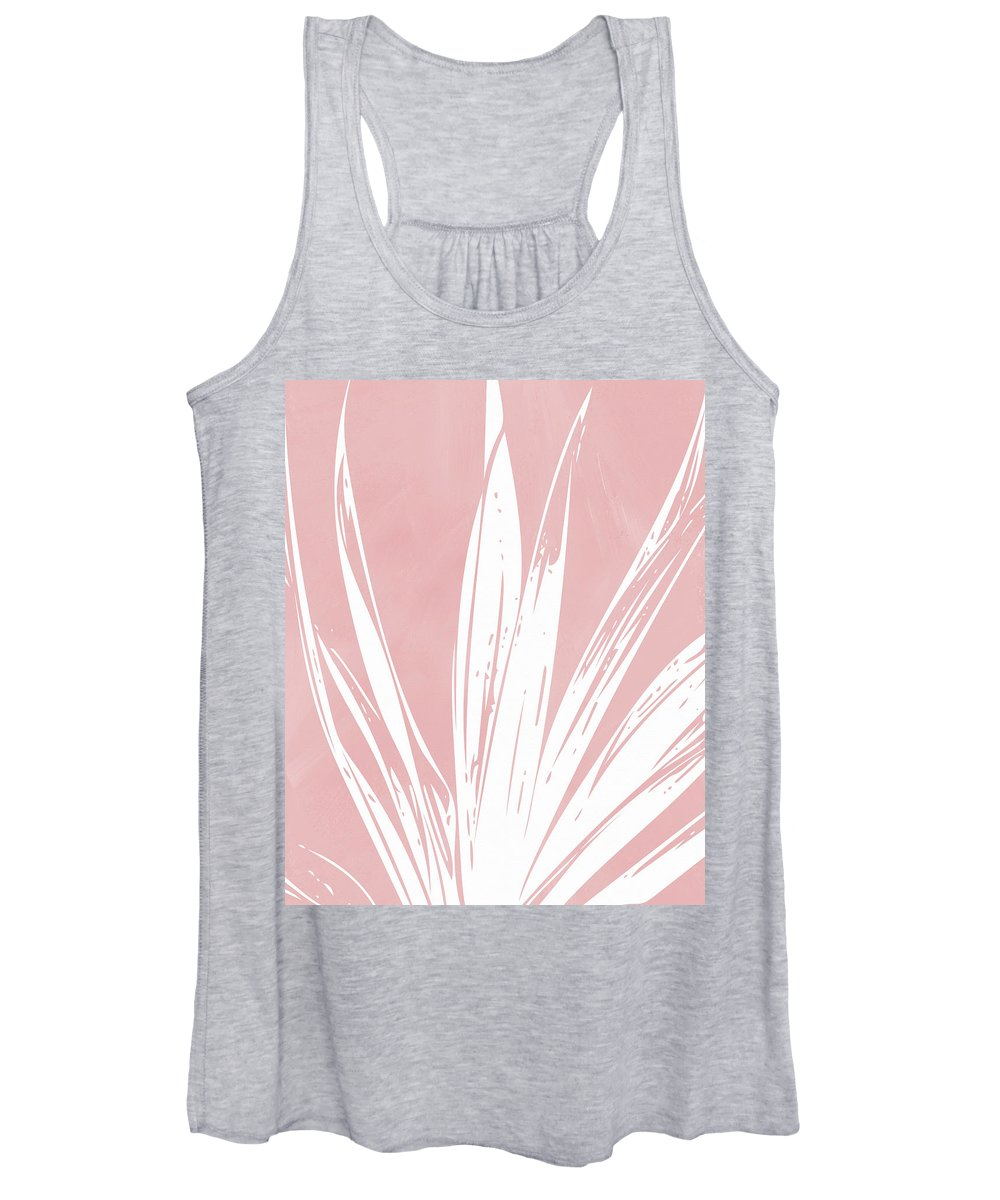 Leaf Women's Tank Top featuring the mixed media Pink and White Tropical Leaf- Art by Linda Woods by Linda Woods