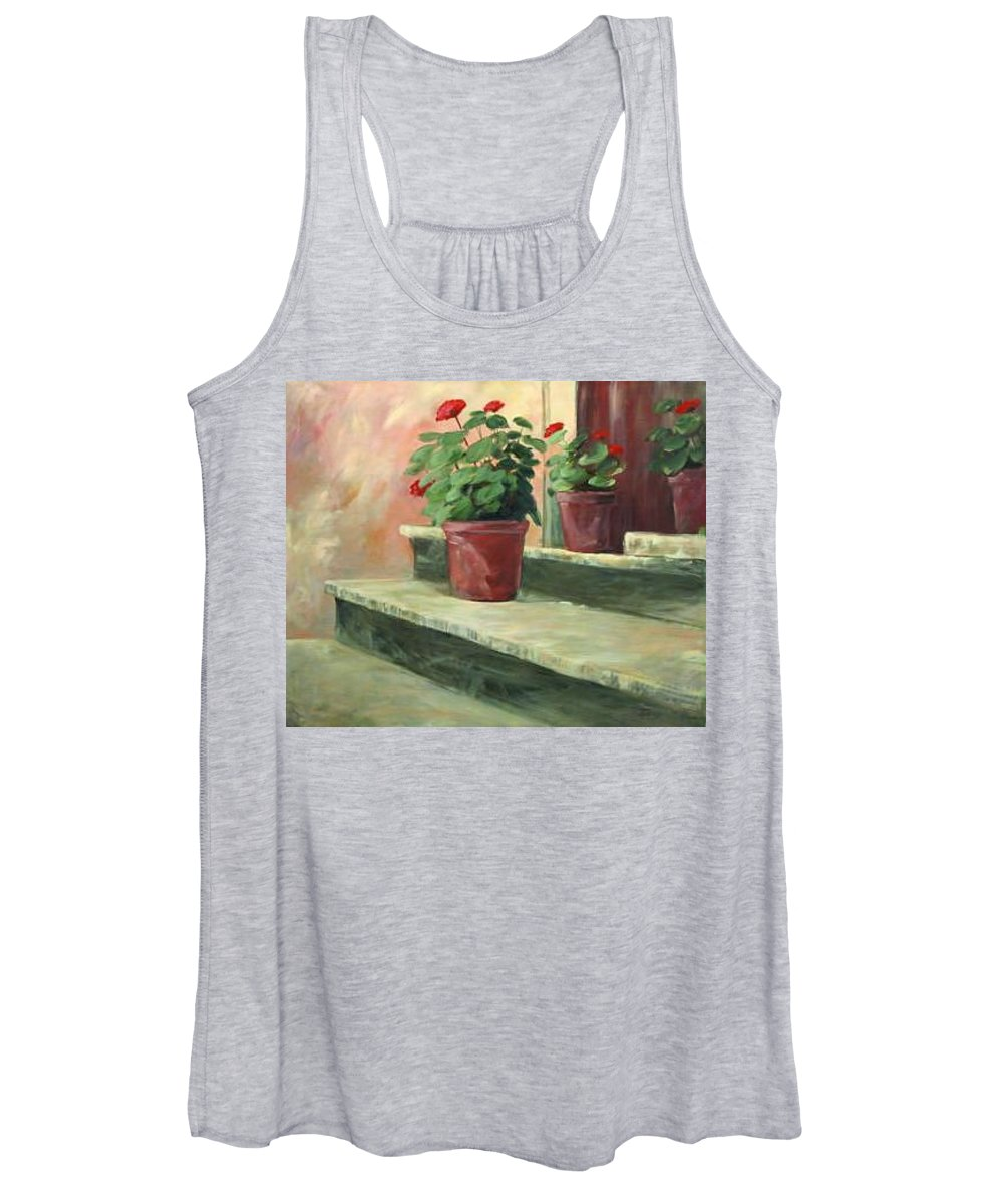 Flowers Women's Tank Top featuring the painting Potted Geraniums by Linda Eades Blackburn