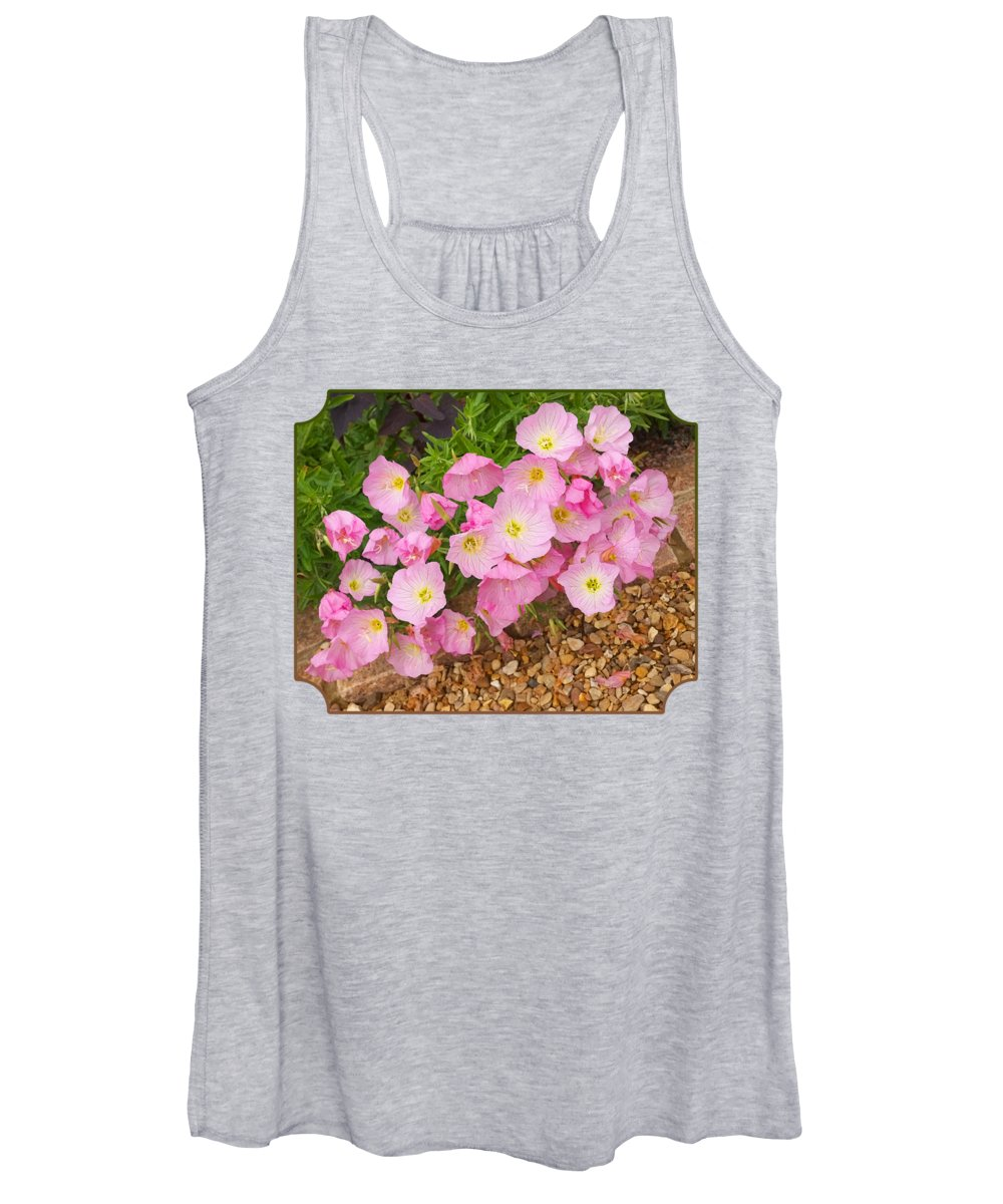 Rose Women's Tank Top featuring the photograph Pretty Pink Rock Roses In The Rain by Gill Billington