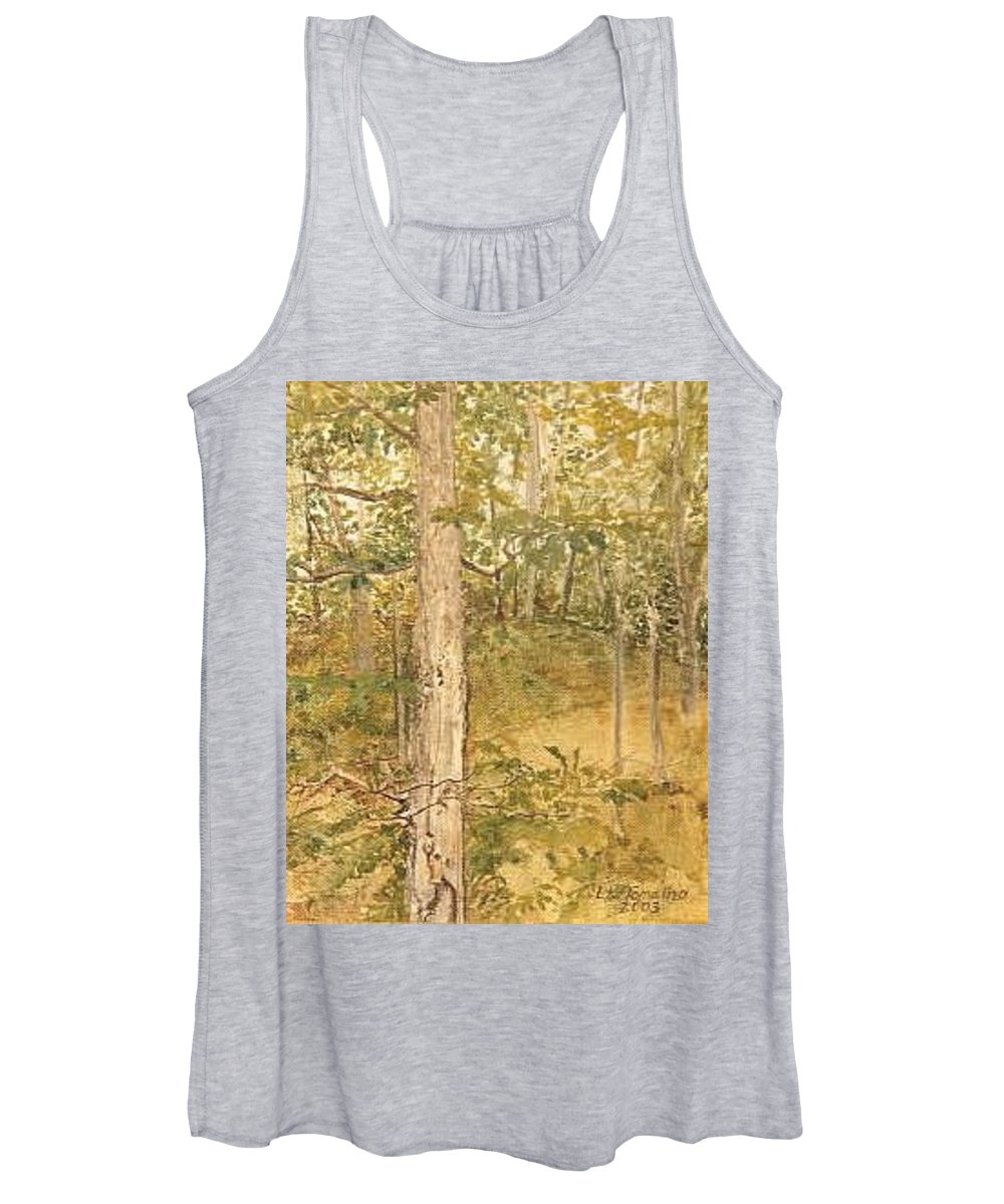 Trees Women's Tank Top featuring the painting Raystown Lake by Leah Tomaino