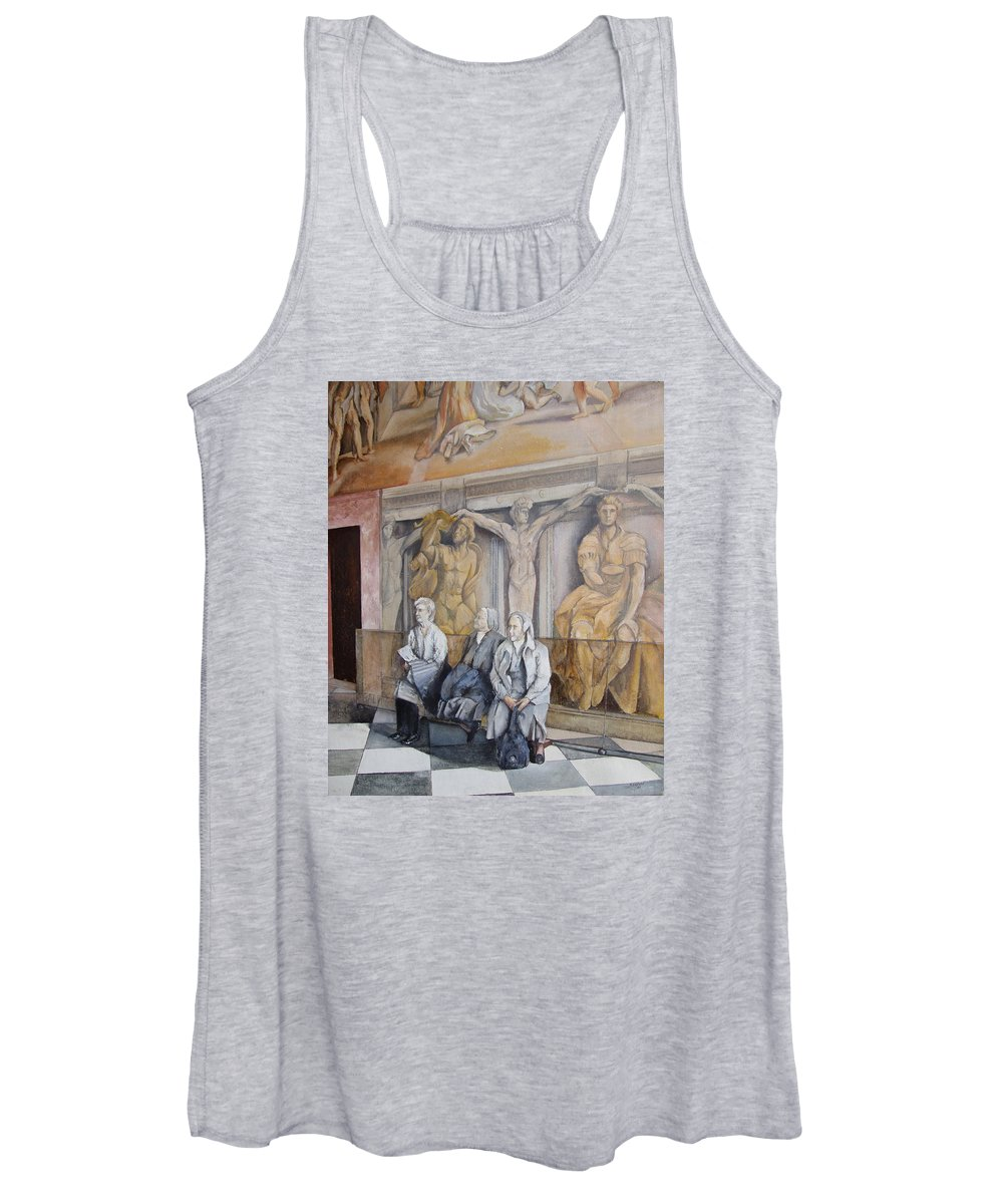 Vaticano Women's Tank Top featuring the painting Reposo En El Vaticano by Tomas Castano