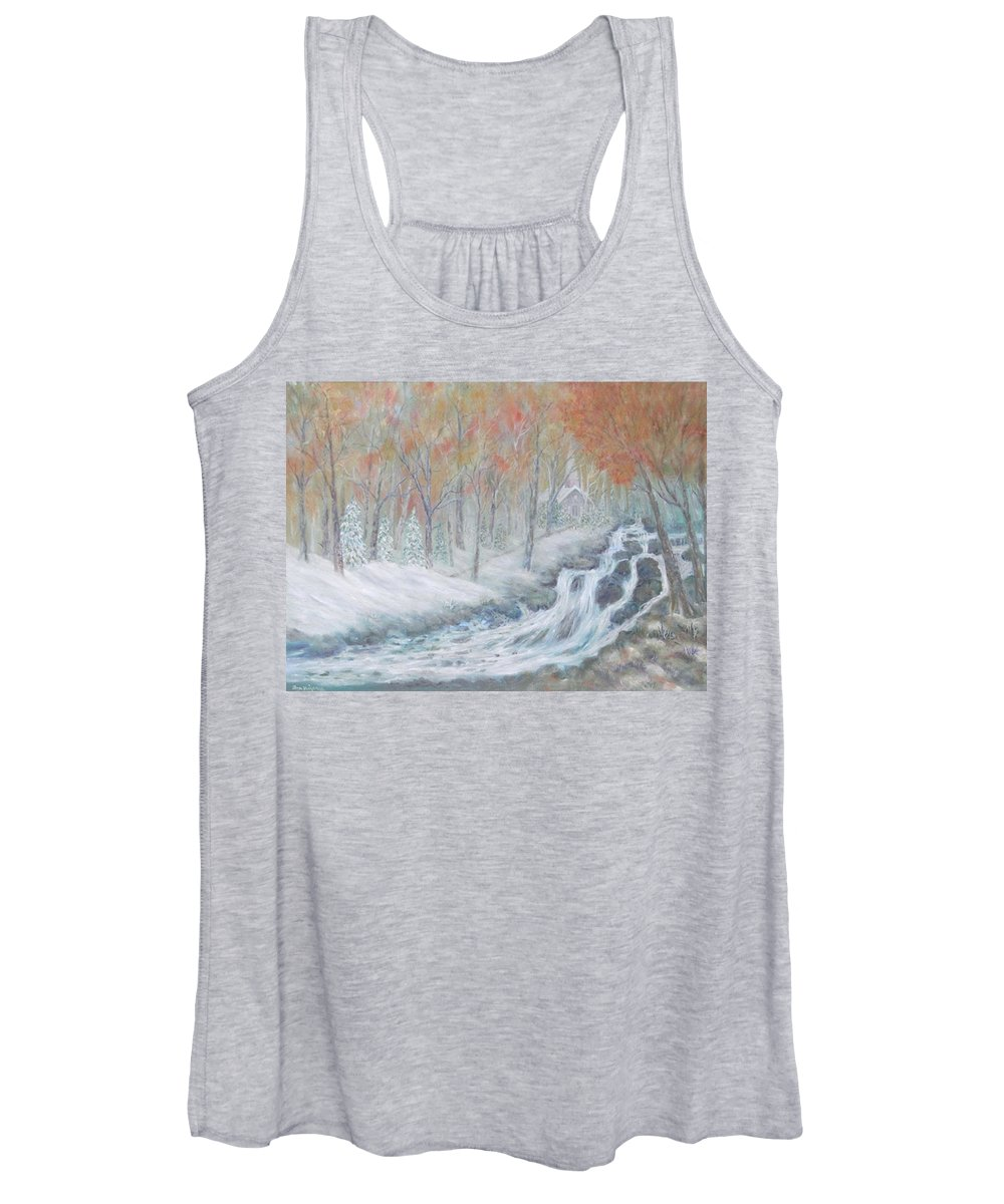 Snow; Landscape; Church Women's Tank Top featuring the painting Reverence by Ben Kiger