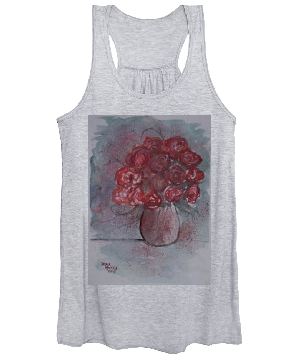 Watercolor Women's Tank Top featuring the painting ROSES still life watercolor floral painting poster print by Derek Mccrea