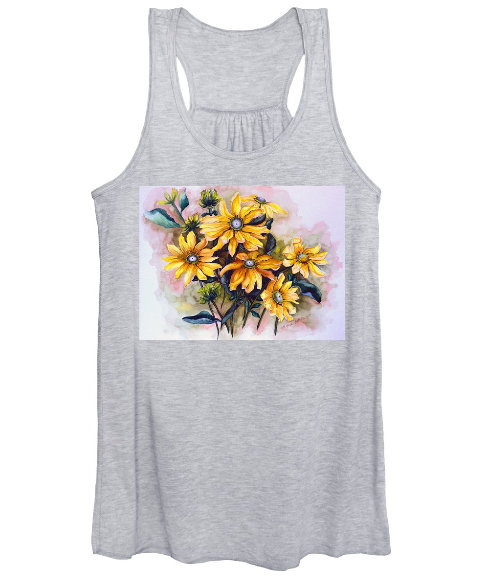 Flower Painting Sun Flower Painting Flower Botanical Painting  Original Watercolor Painting Rudebeckia Painting Floral Painting Yellow Painting Greeting Card Painting Women's Tank Top featuring the painting RUDBECKIA Prairie Sun by Karin Dawn Kelshall- Best