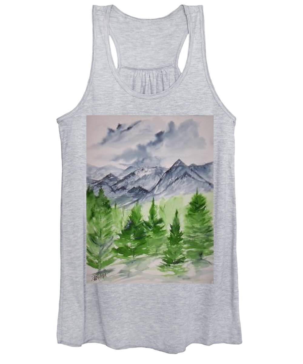 Plein Air Women's Tank Top featuring the painting Ruidoso NM southwestern mountain landscape watercolor painting poster print by Derek Mccrea