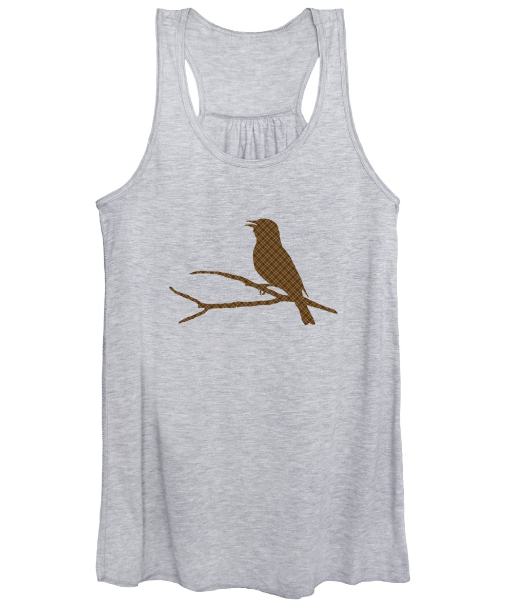 Rustic Women's Tank Top featuring the mixed media Rustic Brown Bird Silhouette by Christina Rollo