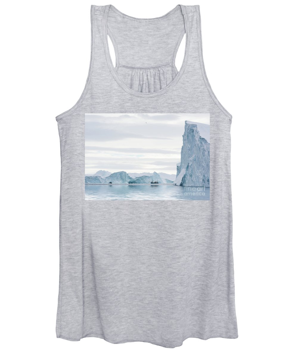 Greenland Women's Tank Top featuring the photograph Sailing Through The Icefjord by Janet Burdon