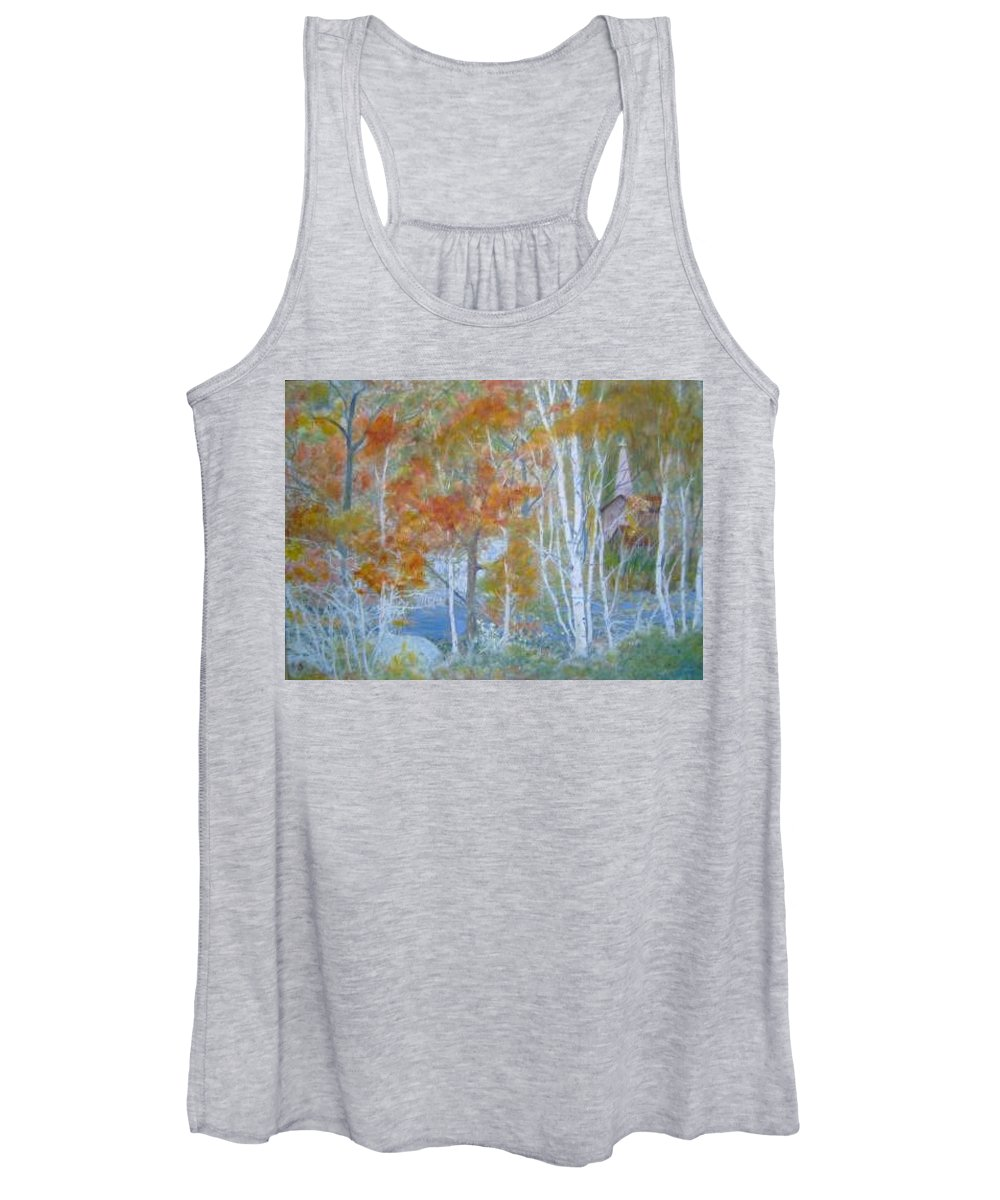 Church; Landscape; Birch Trees Women's Tank Top featuring the painting Sanctuary by Ben Kiger